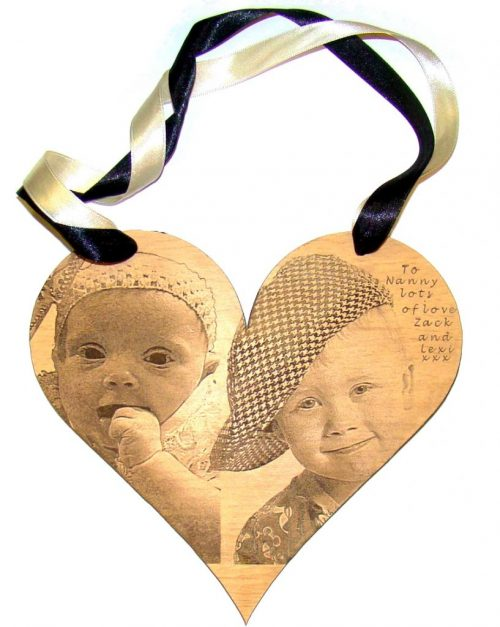 Photo engraved wood heart